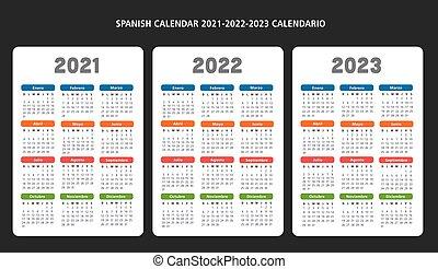 2021-2022-2023, vector, kalender, mal, spaanse