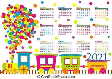 2021, kalender, trein, toy.eps