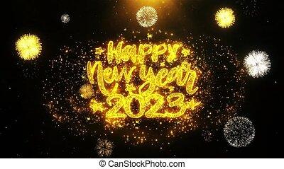 2023, ontploffing, tekst, particles., vrolijke , vuurwerk, wensen, display, jaarwisseling