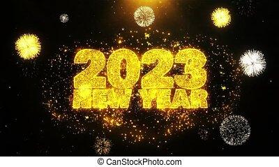 2023, ontploffing, tekst, particles., vuurwerk, hemel, wensen, display, jaarwisseling