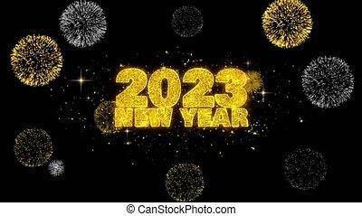 2023, tekst, onthullen, partikels, schitteren, hemel, wensen, firework., nieuw, gouden, jaar