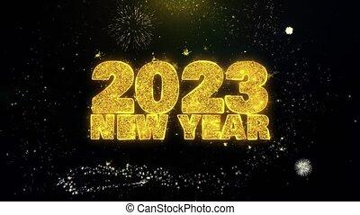 2023, tekst, partikels, goud, display., hemel, wensen, vuurwerk, jaarwisseling