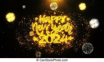 2024, ontploffing, tekst, particles., vrolijke , vuurwerk, wensen, display, jaarwisseling