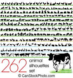 262, silhouettes, set, dier