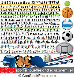 280, silhouettes, sportende, uitrusting