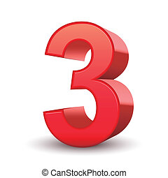 3, glanzend, getal, rood, 3d