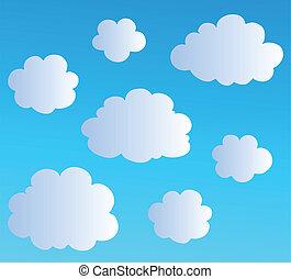 3, wolken, spotprent, verzameling
