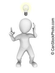 3d, bulb., idee man