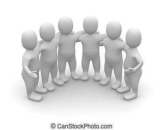 3d, gereproduceerd, groep, illustration., friends.