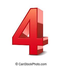 3d, glanzend, 4, rood, getal