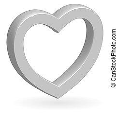 3d, hart, vector, glanzend, zilver