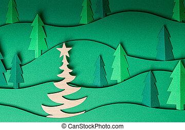 3d, kerstmis, uit, kunstwerk, achtergrond., knallen, papier, bomen, groene
