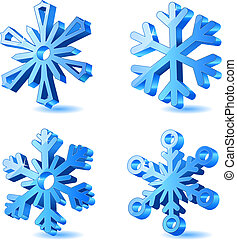3d, kerstmis, vector, sneeuwvlok, iconen