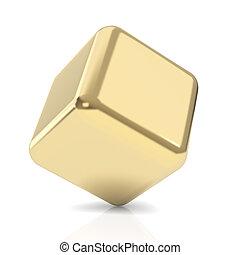 3d, kubus, gouden, witte