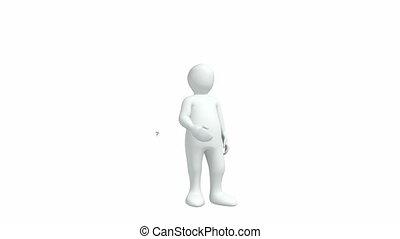 3d-man, witte , tegen, achtergrond