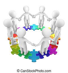 3d, raadsel, cirkel, gekleurde, mensen