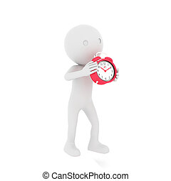 3d, rood, clock., vertolking, menselijk