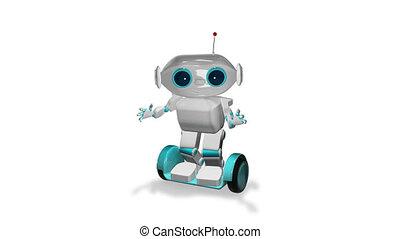 3d, scooter, animatie, robot, witte