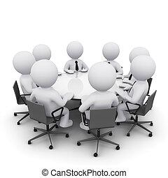 3d, vergadering, zakenmens