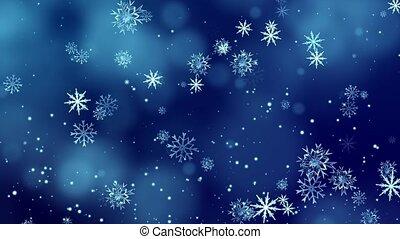 4k, achtergrond, het vallen, winter, blauwe hemel, kerstmis, sneeuw, lus, partikels