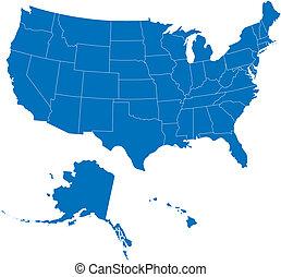 50, staten, usa, blauwe , kleur