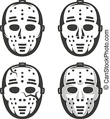 60, classieke, ouderwetse , masker, hockey, goalkeeper