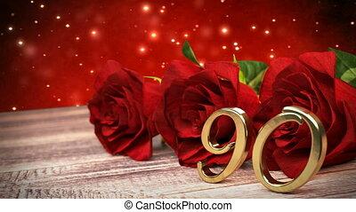 90th., houten, rozen, jarig, desk., lus, birthday., achtergrond, rood, render, seamless, ninetieth, 3d