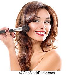 aan het dienen, vrouw, brunette, meisje, makeup., jonge, mooi