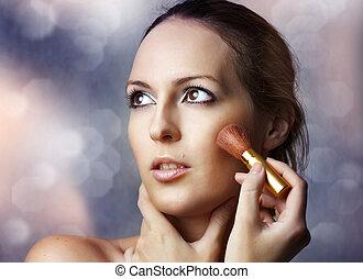 aan het dienen, vrouw, cosmetics., beauty, sexy, verticaal