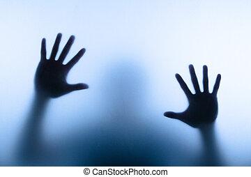 aandoenlijk, man, hand, verdoezelen, glas