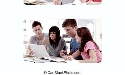 aandoenlijk, scholieren, hand, video's