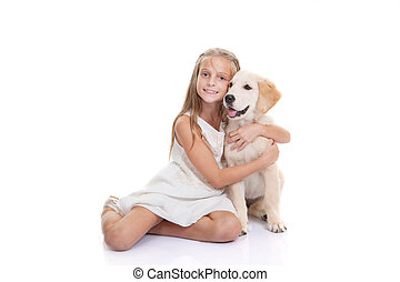 aanhalen, puppy, dog, kind