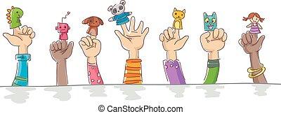 aanhalen, vinger, marionet, geitjes, robots, handen