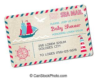 aankomst, postkaart, -, douche, thema, vector, zee, nautisch, baby, of