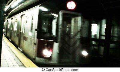 aankomst, trein, york, nieuw, (1016), metro