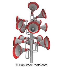 aankondiging, hailers, uitrusting, buitenshuis, loudhailers, audio, luid, of, optredens