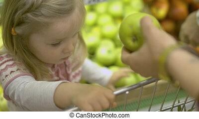 aankopen, maakt, supermarkt, gezin
