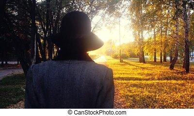 aankopen, vrouw, elegant, jas, park, hun, gaan, door, middelbare leeftijd , 3840x2160, zon, zakken, hoedje, sunset.