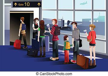 aanplakbord poort, vliegtuig, mensen