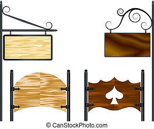aanplakborden, houten