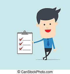 aantekening, controlelijst, man, zakelijk, tonen