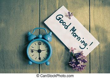 aantekening, klok, old-styled, goede morgen