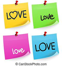 aantekening, liefde, kleverig