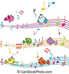 aantekening, muziek, het zingen, vogels, spotprent