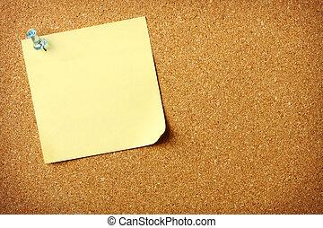 aantekening, post, corkboard, informatietechnologie, leeg