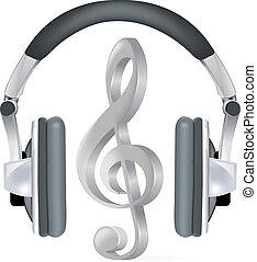 aantekening, realistisch, headphones, muziek