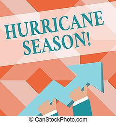 aantekening, season., cycloon, foto, boven., reusachtig, orkaan, ontwikkelen, wijzende, wanneer, schrijvende , tropische , gaan, vasthouden, expected, 3d, kleurrijke, het tonen, hand, meest, zakelijk, richtingwijzer, tijd, showcasing