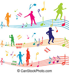 aantekening, silhouettes, geitjes, muziek, dancing