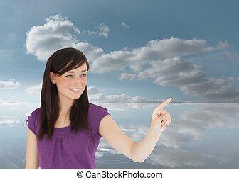 aantrekkelijk, haar, iets, vinger, brunette, wijzende