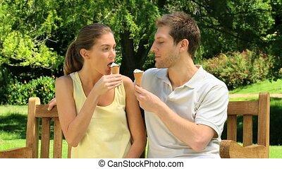 aantrekkelijk, paar, romen, ijs, eten